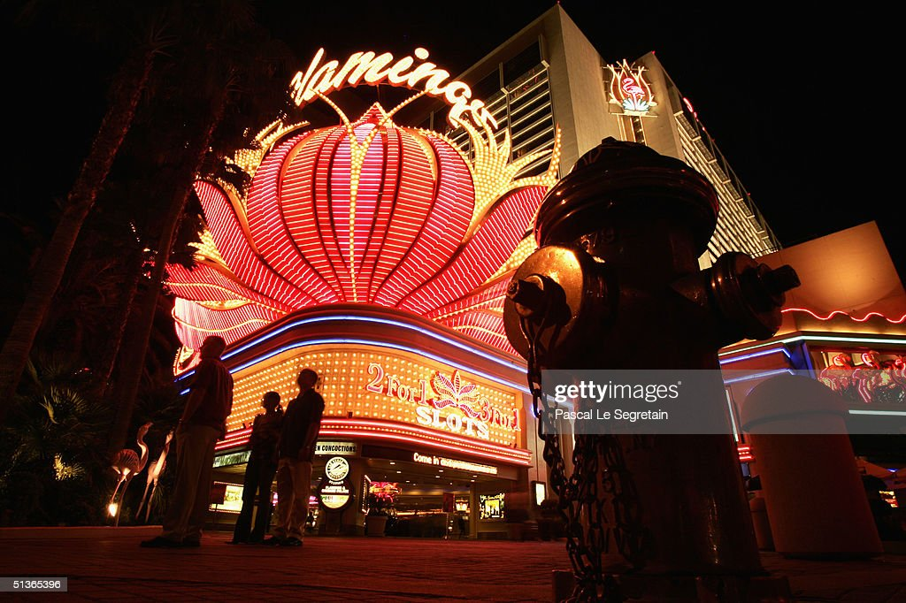 The facade of the Flamingo hotel is seen at night on Las Vegas Boulevard, September 17 in Las Vegas.