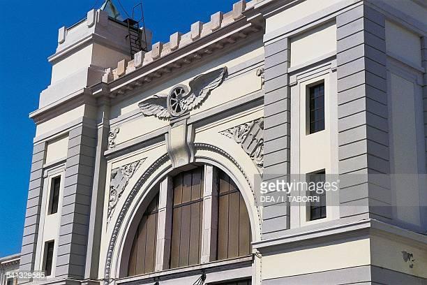 The facade of the former train station in Campo Marzio now the Campo Marzio railway museum Trieste FriuliVenezia Giulia Italy Detail