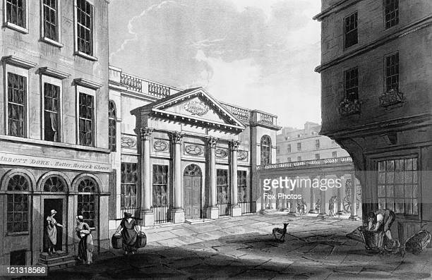 The facade of the Grand Pump Room where visitors to Bath can take the waters from warm natural springs in the Roman Baths Somerset 1804 After J C...