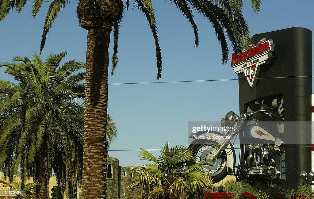 The facade of the Harley Davidson cafe is seen on Las Vegas Boulevard, September 17 in Las Vegas.