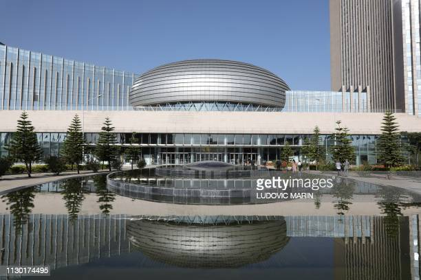 The facade of the headquarters of the African Union is pictured on March 13 in Addis Ababa