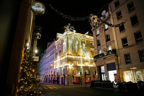 FRA: Christmas Lights And Decorations Are Displayed At The Hermes Boutique In Paris
