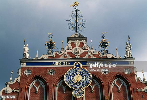 The facade of the House of the Blackheads medieval historic centre of Riga Latvia Detail