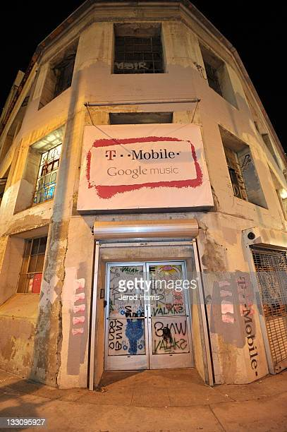 The facade of the Mr Brainwash studio is seen during the launch of Google Music hosted by TMobile at Mr Brainwash Studio on November 16 2011 in Los...
