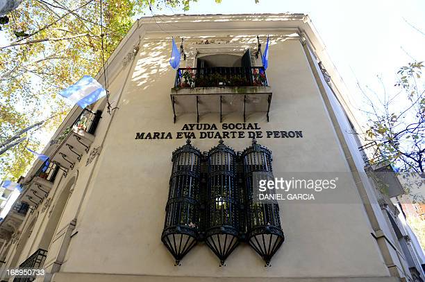 The facade of the museum dedicated to Eva Duarte de Peron Evita in Buenos Aires on May 16 2013 The exhibition Evita Passion and Action will be shown...