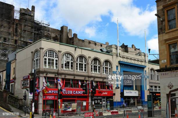 The facade of the O2 ABC nightclub and music venue which suffered extensive damage as fire spread from the blaze at the Glasgow School of Art...
