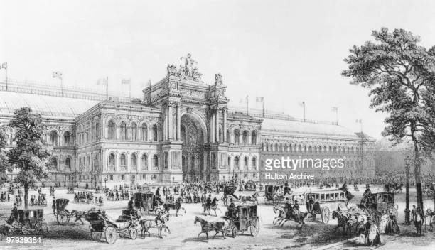 The facade of the Palais de l'Industrie at the Paris World's Fair 1855 Drawn and engraved by Fichot