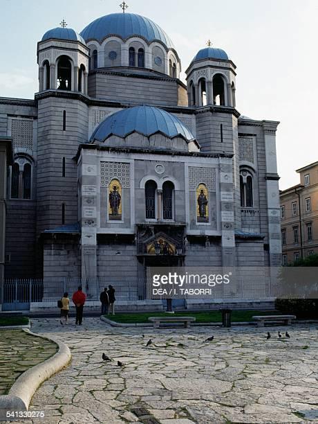 The facade of the Serbian Orthodox Saint Spyridon church Trieste FriuliVenezia Giulia Italy Detail