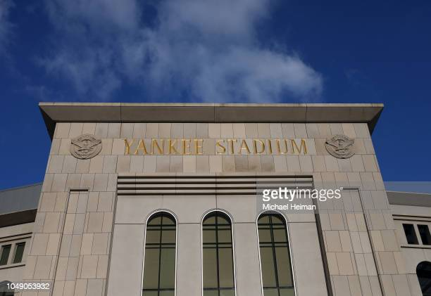 The facade of Yankee Stadium is seen prior to the American League Wild Card Game between the New York Yankees and the Oakland Athletics on October...