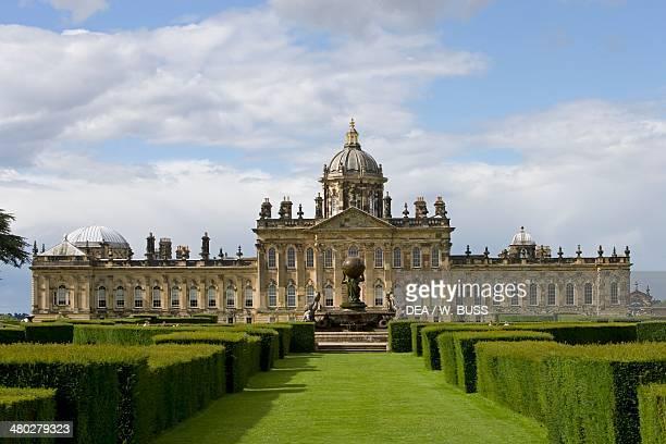 The facade onto the garden of Howard castle architect John Vanburgh York North Yorkshire United Kingdom