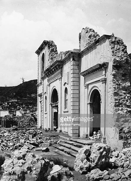 The facade remains of the St Pierre Cathedral rue Victor Hugo after the blast of the Mount Pelee volcano on May 10 1902 at St Pierre Martinique