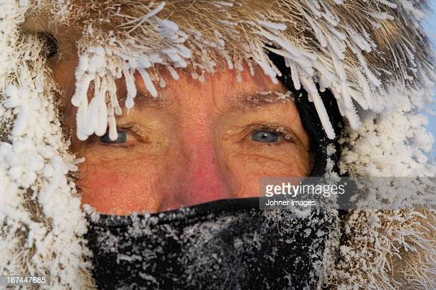 The face of a freezing woman, Sweden.