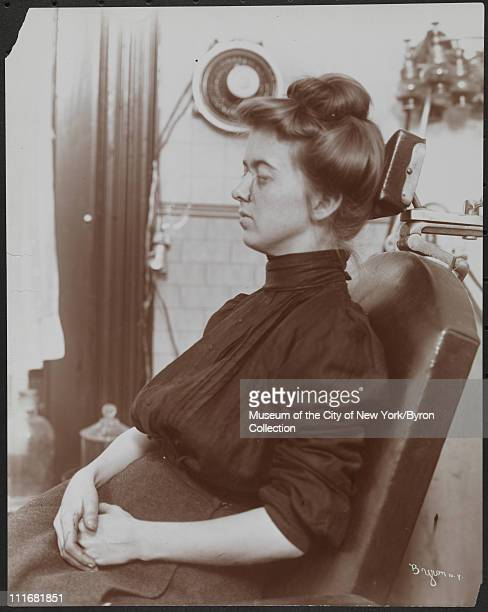 The face of a woman who has had a nose grafting at a private hospital, New York, New York, early to mid 1900s.