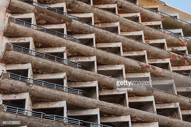 The face of an abandoned hotel is seen in the Varosha quarter on January 5, 2017 in Famagusta, Cyprus. Prior to the Turkish invasion of Cyprus in...