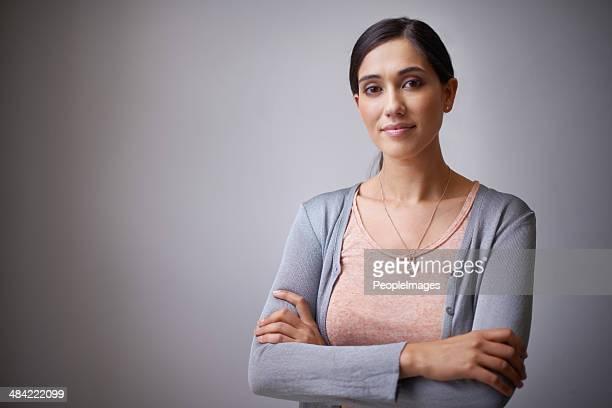 Rosto de uma mulher de negócios e Entrar