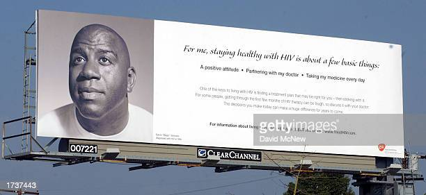 The face of basketball halloffamer Earvin 'Magic' Johnson appears on a GlaxoSmithKline billboard with the message 'staying healthy is about a few...