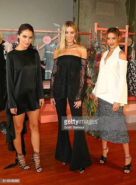 The Face of Myer Jennifer Hawkins and Myer Ambassadors Jodi Anasta and Rachael Finch pose at the Myer Contemporary Brands Collections at the George...