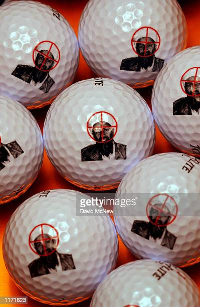 The face of suspected terrorist leader Osama bin Laden is targeted with rifle cross hairs on golf balls produced by Impact Products LLC October 17...