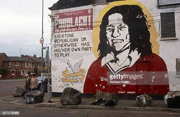 The face of the Irish Republican Bobby Sands is painted on the office wall of Sinn Feinn the leftwing politcal arm of the Irish Republican Army in...