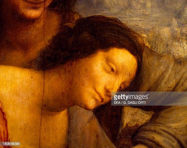 The face of the Virgin detail from St Anne the Virgin and Child with the lamb 15081513 by Leonardo da Vinci oil on canvas 168x130 cm