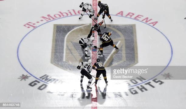 The face off at the start of a preseason game with Los Angeles Kings against the Vegas Golden Knights at TMobile Arena on September 26 2017 in Las...