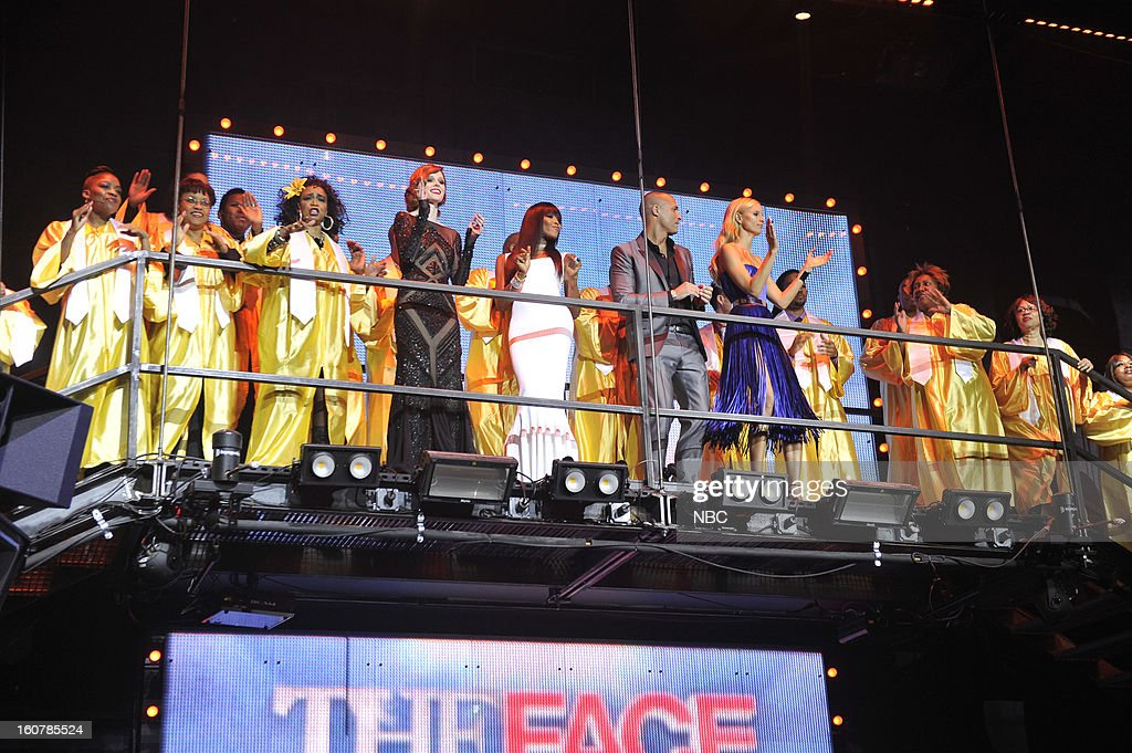 EVENTS -- 'The Face' Premiere Party and Upfront 2013 -- Pictured: (l-r) Coco Rocha, Naomi Campbell, Nigel Barker, Karolina Kurkova --