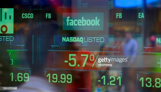 The Facebook Inc logo and share price are displayed at the Nasdaq MarketSite in New York US on Thursday Aug 16 2012 Facebook Inc fell to an intraday...