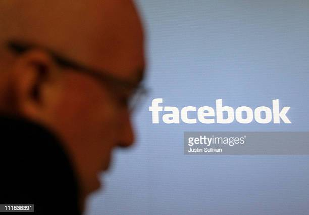 The Facebook is displayed during a media event at Facebook headquarters on April 7 2011 in Palo Alto California Facebook announced the launch of the...