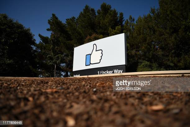 "The Facebook ""like"" sign is seen at Facebook's corporate headquarters campus in Menlo Park, California, on October 23, 2019."