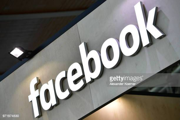 The Facebook logo is displayed at the 2018 CeBIT technology trade fair on June 12, 2018 in Hanover, Germany. The 2018 CeBIT is running from June...