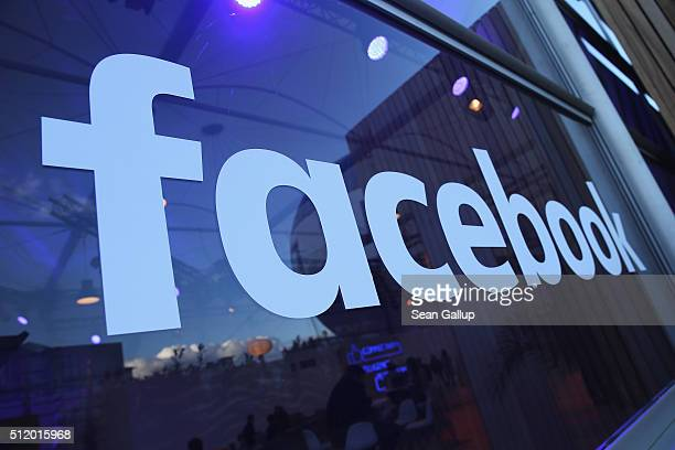 The Facebook logo is displayed at the Facebook Innovation Hub on February 24, 2016 in Berlin, Germany. The Facebook Innovation Hub is a temporary...