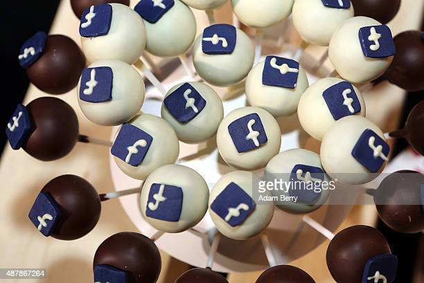 The Facebook logo is seen on cakes at the #CDUdigital conference on September 12 2015 in Berlin Germany The world's largest social media network was...