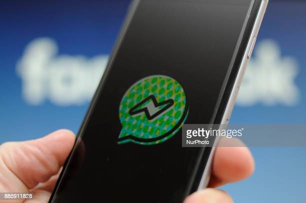 The Facebook Messenger application for kids is seen on a smartphone in this photo illusration on Decembner 4 2017 The Messenger For Kids application...