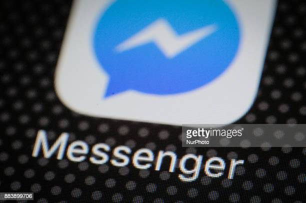 The Facebook Messenger application is seen on a iPhone on December 1 2017