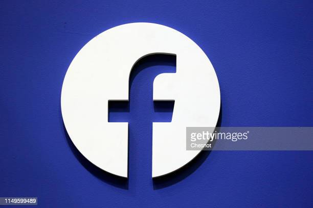 The Facebook social media logo is displayed during the 4th edition of the Viva Technology show at Parc des Expositions Porte de Versailles on May 16...