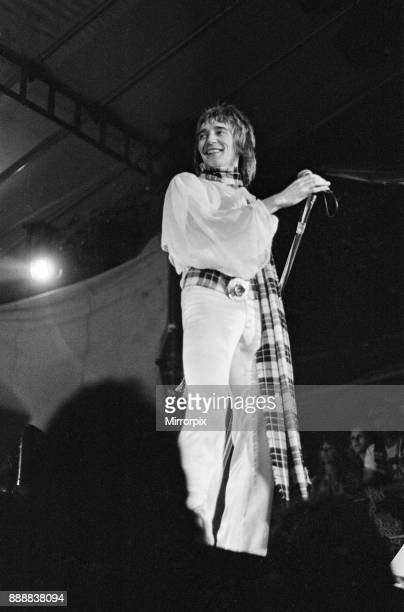 The Faces featuring Rod Stewart perform at The Reading Festival on Saturday 25th August 1973 Picture shows lead singer Rod Stewart The festival was...