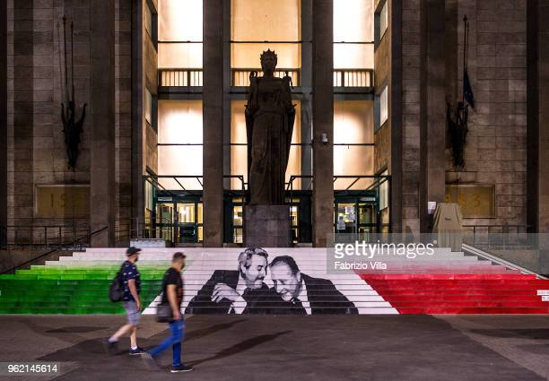 The faces of Giovanni Falcone and Paolo Borsellino the judges killed by the Sicilian mafia in front of the court of Catania at Giovanni Verga...