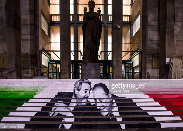 The faces of Giovanni Falcone and Paolo Borsellino, the judges killed by the Sicilian mafia, in front of the court of Catania at Giovanni Verga...