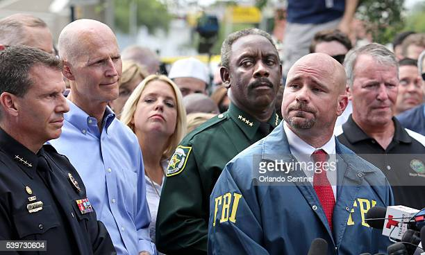 The faces of officials leading the response to the mass shooting in Orlando Fla on Sunday June 12 are from left Orlando police Chief John Mina...