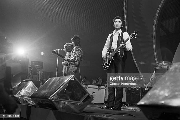 The Faces perform on stage on the Pop Gala TV show on 10th March 1973 in Voorburg Netherlands LR Ron Wood Rod Stewart and Ronnie Lane