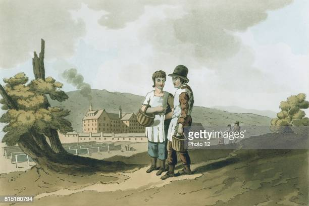 The Factory Children' from George Walker The Costume of Yorkshire Leeds 1814 Boy and girl employees walk to work carrying day's food in baskets In...