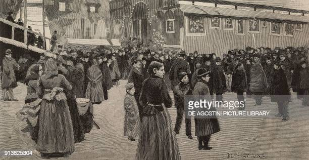 The fair at Porta Genova during the Ambrosian Carnival Milan Italy engraving after a drawing by Arnaldo Ferraguti from L'Illustrazione Italiana Year...