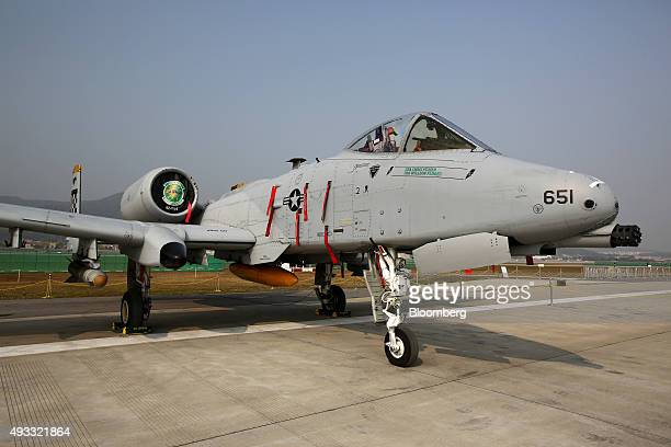 The Fairchild Republic A10 Thunderbolt II jet stands on display during the Seoul International Aerospace Defense Exhibition at Seoul Airport in...