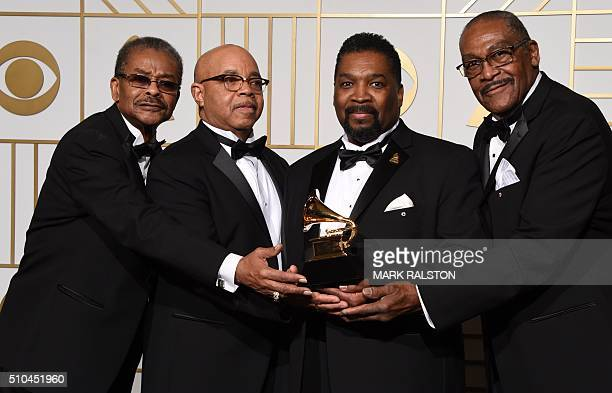 The Fairfield Four hold their Best Roots Gospel Album trophy for 'Still Rockin' My Soul' in the press room during the 58th Annual Grammy Music Awards...