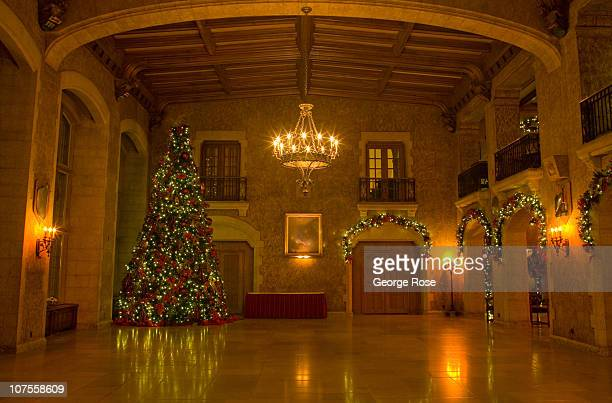 The Fairmont Banff Springs Hotel Great Hall is decorated with a large Christmas tree on November 22 2010 in Banff Springs Canada The famed hotel...