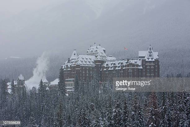 The Fairmont Banff Springs Hotel is coated with a fresh layer of snow on November 23 2010 in Banff Springs Canada The famed hotel built by the...