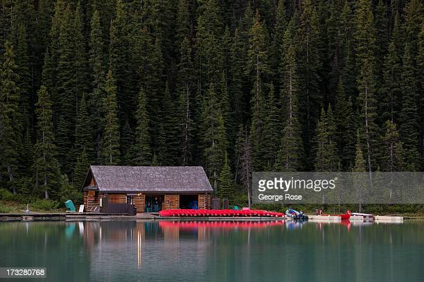 The Fairmont Chateau Lake Louise boathouse is viewed on June 26 2013 in Lake Louise Alberta Canada Major flooding along the Bow River in June washed...