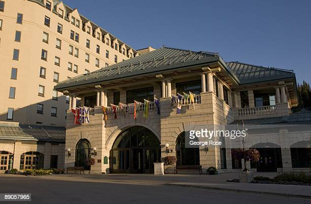 The Fairmont Chateau Lake Louise Hotel entrance is seen in this 2009 Lake Louise Canada summer morning landscape photo