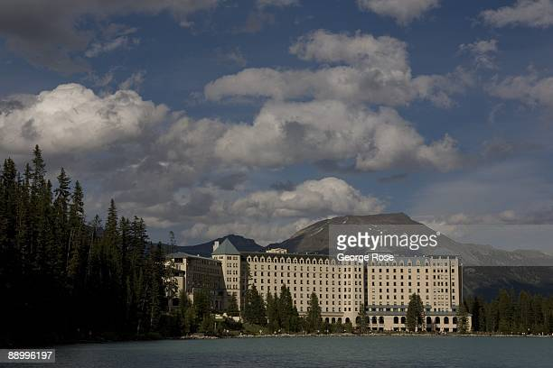 The Fairmont Chateau Lake Louise Hotel is seen from a distance across the lake in this 2009 Lake Louise Canada summer afternoon landscape photo