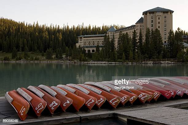 The Fairmont Chateau Lake Louise Hotel is seen from the canoe boathouse in this 2009 Lake Louise Canada summer morning landscape photo